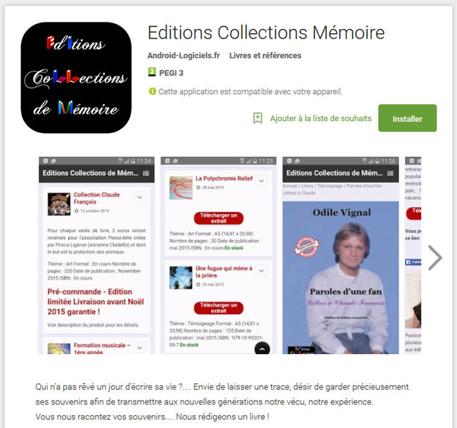 Editions Collections de Mémoire sur Android
